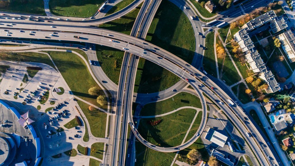 birds eye view of highway flyover