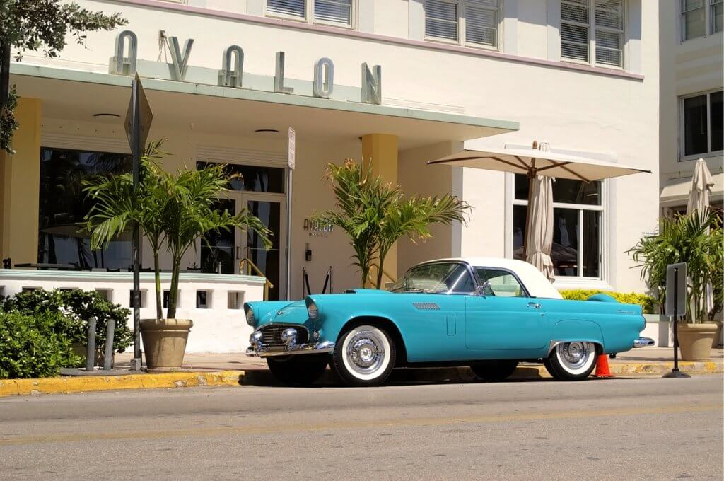 Classic car in south beach miami