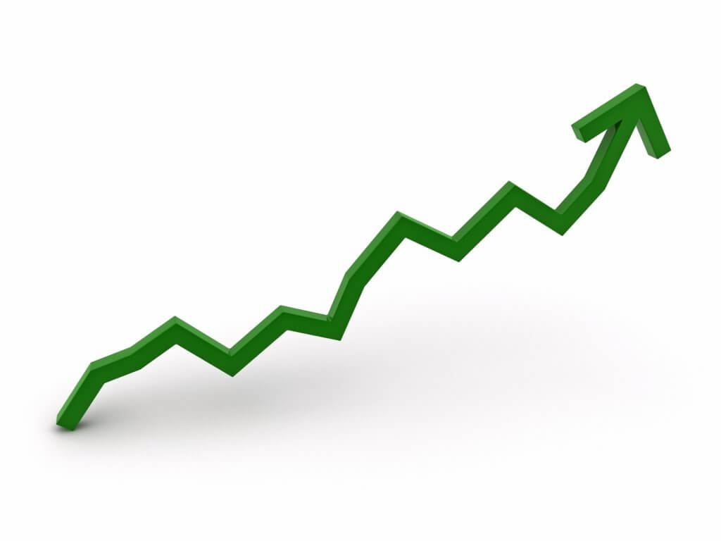 line graph showing growth