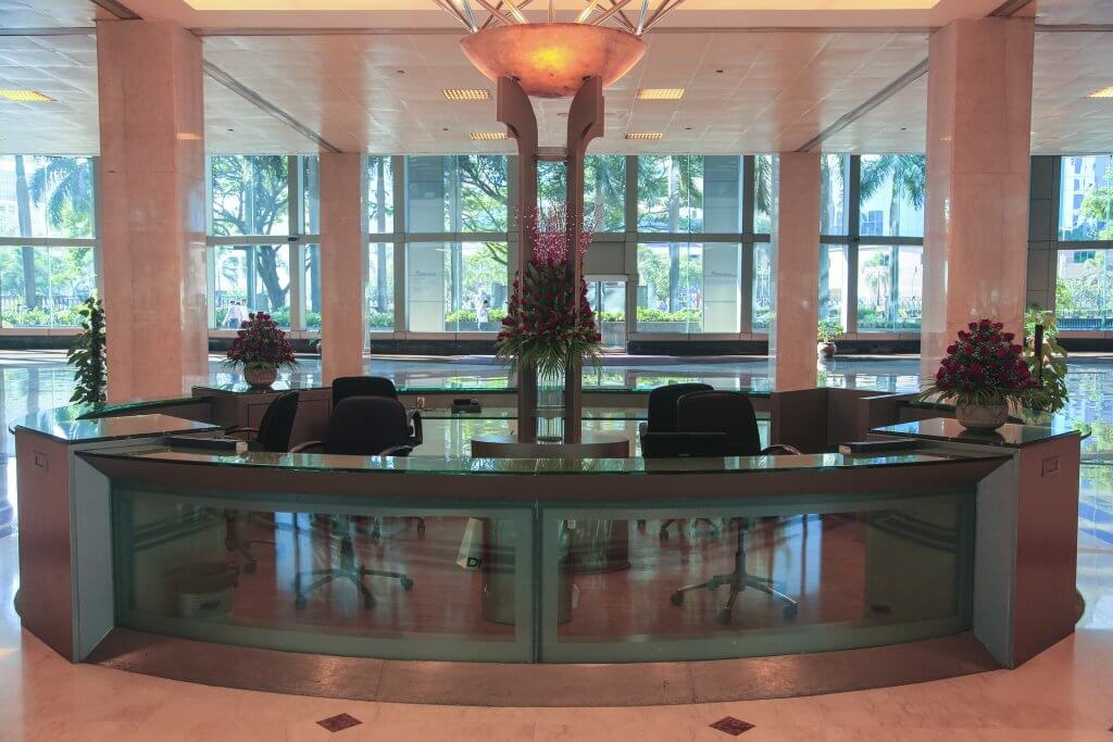 Front desk in office lobby