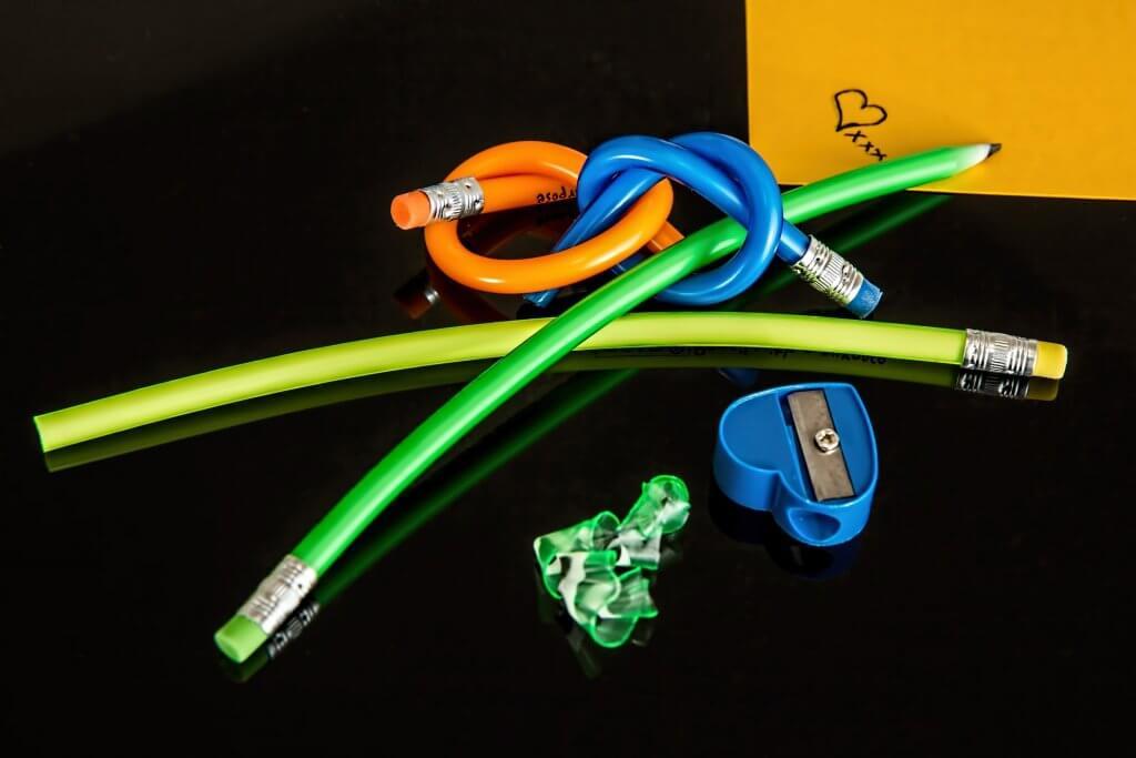 pencils tied in knots