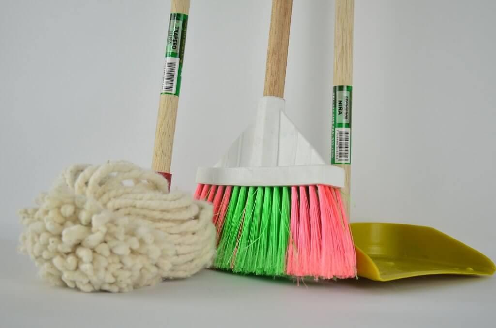 broom mop and dustpan