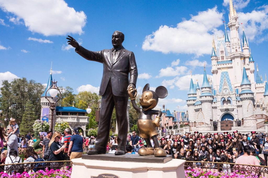 Walt Disney and Mickey sculpture outside Magic Kingdom
