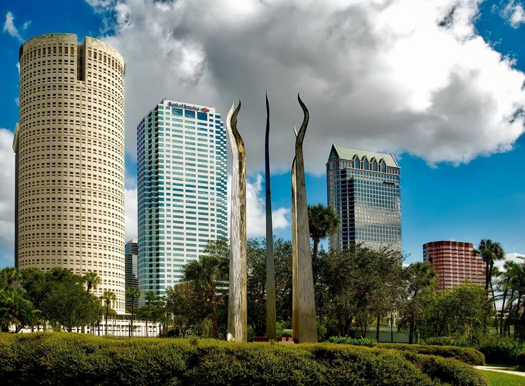 Tampa skyline with cool sculpture