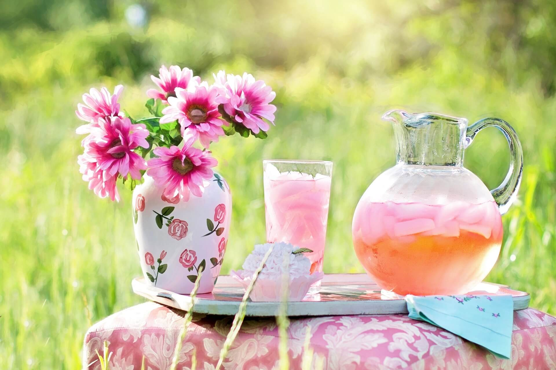 pink lemonade in pitcher