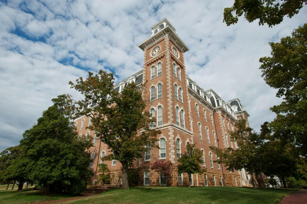 clock tower on the University of Arkansas campus