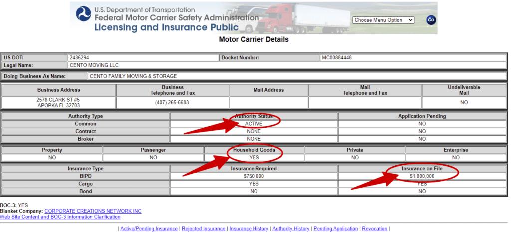 Cento Moving Company details