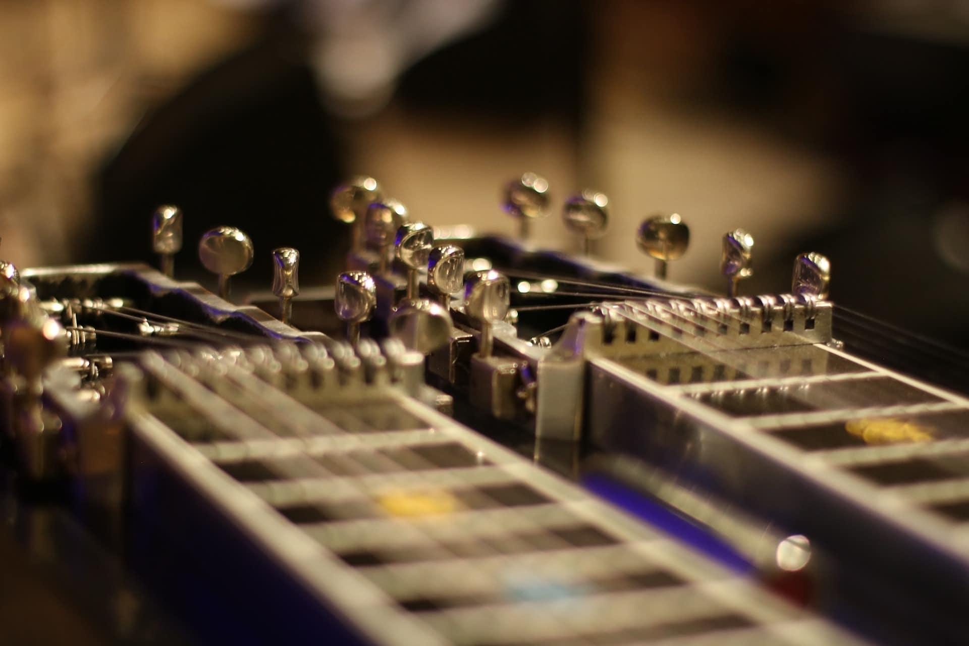 Closeup of guitar neck