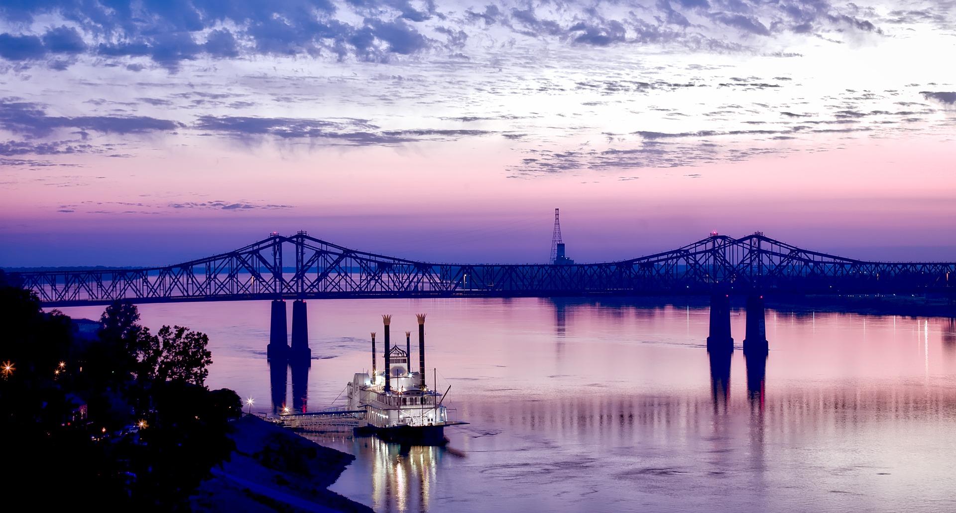 Bridge in Natchez, Mississippi at sunset